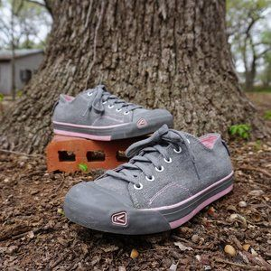 KEEN WOMAN'S JEAN SNEAKERS SIZE 9 GRAY AND PINK